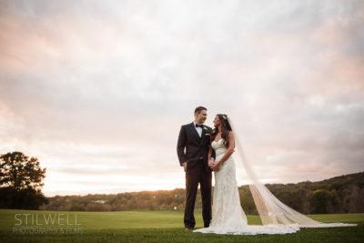 Bride and Groom Great River Golf Club Wedding Portrait