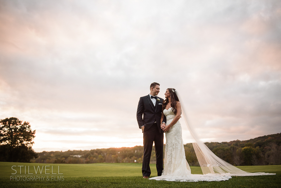 Bride and Groom Great River Golf Club Wedding Portrait